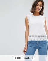 New Look Petite Cutwork Lace Frill Sleeve Top
