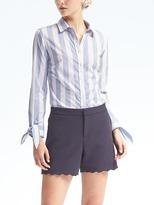 Banana Republic Riley-Fit Bow-Cuff Stripe Shirt