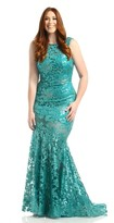 Johnathan Kayne 6028K Sequined Floral Lace Evening Gown