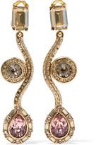 Oscar de la Renta Geometric gold-tone crystal clip earrings