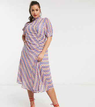 Lost Ink Plus button detail midi dress in stripe ditsy floral