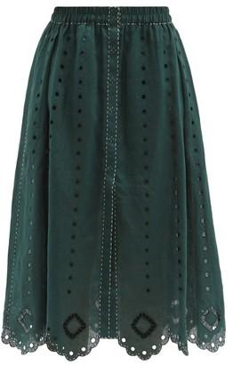Vita Kin Charlie Broderie-anglaise Linen Midi Skirt - Dark Green