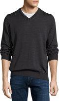 Neiman Marcus Wool Long-Sleeve V-Neck Sweater, Shadow
