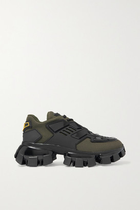 Prada Thunder Mesh And Rubber Sneakers - Army green