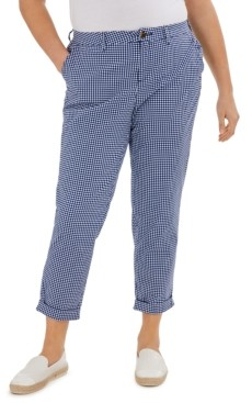 Tommy Hilfiger Plus Size Hampton Gingham Cuffed Pants, Created for Macy's