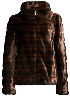 Donna Karan Stand Collar Faux Fur Coat