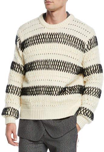 Calvin Klein Men's Chunky Striped Wool Sweater