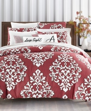 Charter Club Closeout! Damask Designs Outline Damask Cotton 300-Thread Count 3-Pc. Full/Queen Duvet Set, Created for Macy's Bedding