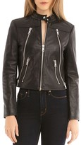 Bagatelle Zip Detail Leather Moto Jacket