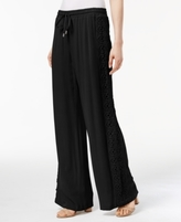 INC International Concepts Petite Gauze Crochet-Trim Wide-Leg Pants, Created for Macy's