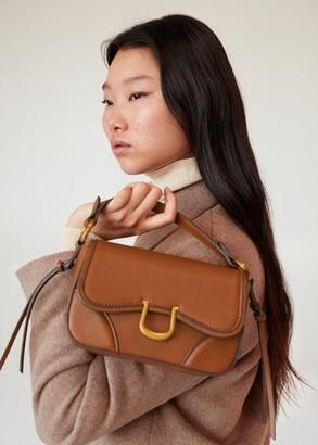 MANGO Buckled cross-body bag medium brown - One size - Women