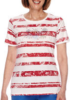 Sag Harbor American Dream Short-Sleeve Fireworks Embroidery Top
