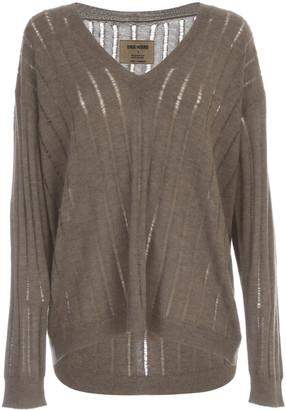 UMA WANG L/s Knit V Ribbed Oversized Sweater