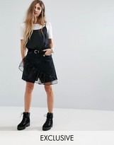 Reclaimed Vintage Levi Denim Mini Skirt With Ruffle