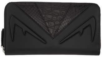Fendi Black Bag Bugs Zip Around Continental Wallet