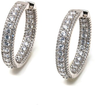 Suzy Levian Cubic Zirconia Pave Hoop Earrings