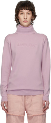 Ambush Pink Logo Emboss Knit Turtleneck