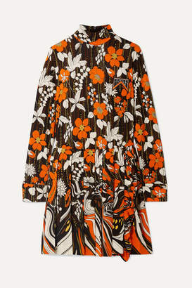 Prada Appliqued Pleated Floral-print Jersey Mini Dress - Orange