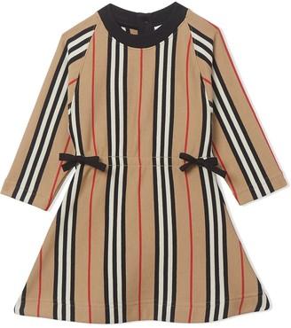 BURBERRY KIDS Icon Stripe midi dress