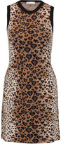 RED Valentino Leopard jacquard-knit wool, cotton and silk-blend mini dress