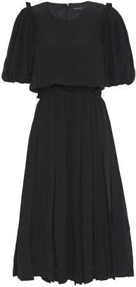 Simone Rocha Ruffled Pleated Silk Crepe De Chine Midi Dress