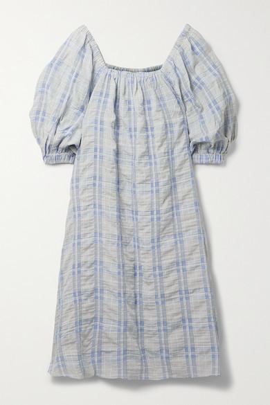 Thumbnail for your product : REMAIN Birger Christensen Lea Off-the-shoulder Checked Seersucker Midi Dress - Light blue