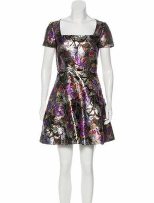 Valentino Camubutterfly Brocade Dress Silver