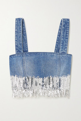 Balmain Cropped Fringed Sequined Denim Top - Blue