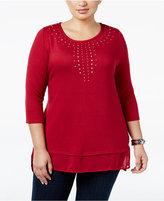 Belldini Plus Size Studded Chiffon-Hem Knit Top
