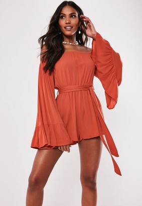 Missguided Orange Bardot Tie Waist Romper