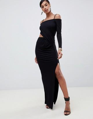 Bardot ASOS DESIGN square neck cut out wrap maxi dress