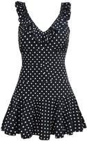 Tempt Me Women One Piece Vintage Polka Dot V-neckline Falbala Edged Swimdress B XL