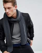 Tommy Hilfiger Textured Knit Scarf In Charcoal Heather
