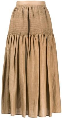 Joseph Smocked Panel Midi Skirt