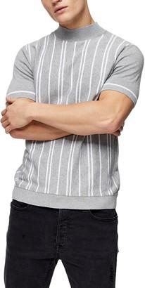 Topman Stripe Short Sleeve Mock Neck Sweater