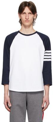 Thom Browne Navy and White 4-Bar Baseball T-Shirt