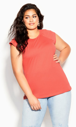 City Chic Ruffle Escape Top - tangerine