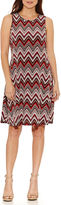 Ronni Nicole Sleeveless Chevron Sheath Dress-Petites