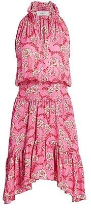A.L.C. Cody Floral Silk Smocked Waist Dress