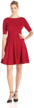Julian Taylor Women's Elbow Sleeve Solid Fit and Flare Dress