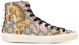 Gucci hi-top sneakers - women - Leather/Acrylic/Canvas/rubber - 40