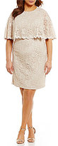 Jessica Howard Plus Scalloped Capelet Sheath Dress