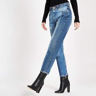 River Island Mid blue block slim fit denim jeans