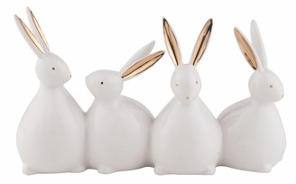 "Transpac Dolomite Gold Accent Bunnies Decor - 9.5""x 3"" x 5.75"""