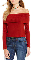 Buffalo David Bitton Rachella Rib Knit Foldover Off-the-Shoulder Top