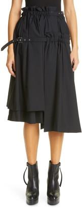 Noir Kei Ninomiya noi kei ninomiya Asymmetrical Belted Tropical Wool Skirt