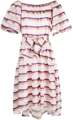 Temperley London Melina striped off-shoulder dress