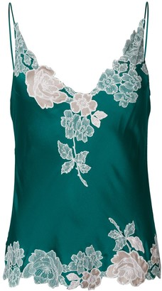Carine Gilson Floral Lace-Embroidery Slip Top