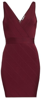 Herve Leger Icon V-Neck Dress