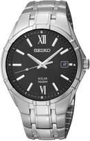 Seiko Watch, Men's Solar Stainless Steel Bracelet 38mm SNE215